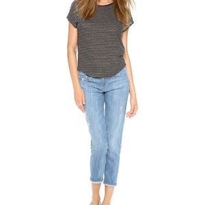Vince relaxed rolled jeans in summer blue wrecked